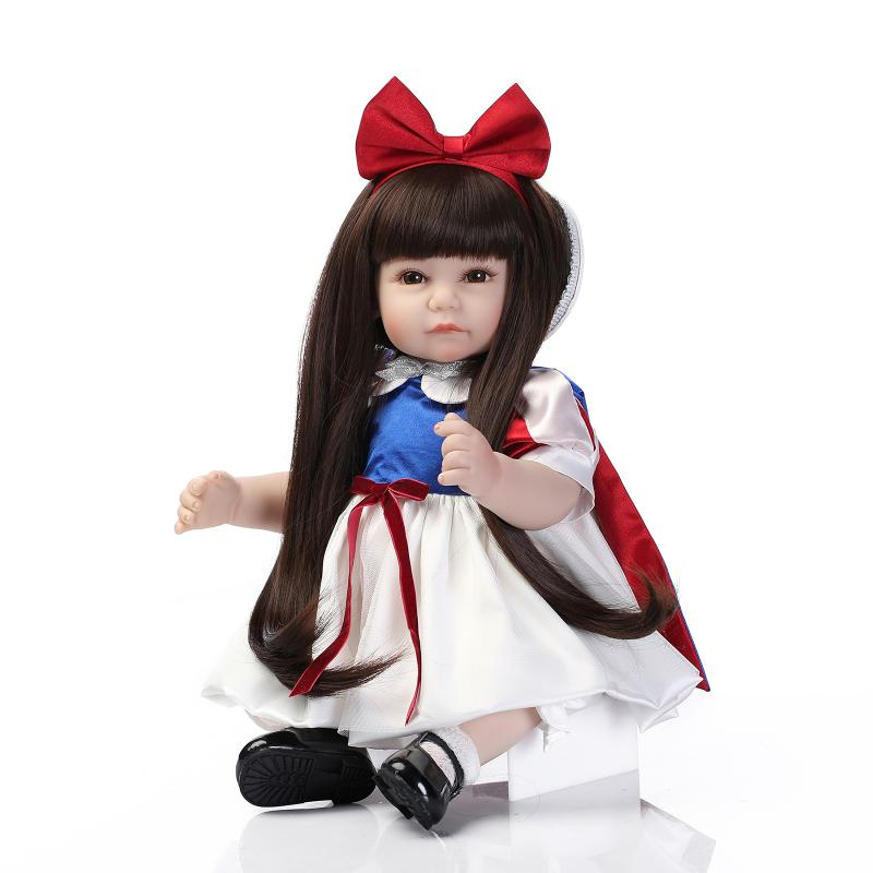 52CM long brown hair Silicone baby girl reborn dolls/girls toys baby alive boneca children birthday gift