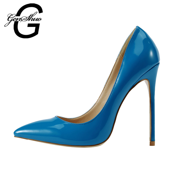 GENSHUO Women Pumps 8 10 12CM Sexy Blue High Heels Shoes Women Fashion  Luxury Wedding Party Office Shoes Thin Heels Shoes 042a89351a50