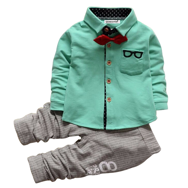 2018 Baby Boys Clothes Set Long Sleeve Gentleman t-shirt +pants suit For Boys Children Clothing Costume For Kids Suits 1-3 years casual print long sleeve t shirt ox pants twinset for boys