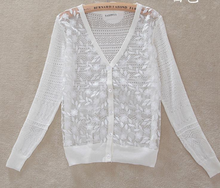 summer Women's Sweater Blouse White Loose Long Sleeve Hollow ...