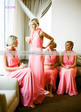 Handmade Flowers Chiffon Beach Bridesmaid Dress Wedding Party Gown Halter Pleat Bridesmaid Dress vestido de dama de honor SL-B65