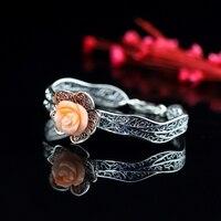 LouLeur 925 sterling silver pink Precious Cora bangles handmade natural Precious Cora rose flowers bangles bracelets for women