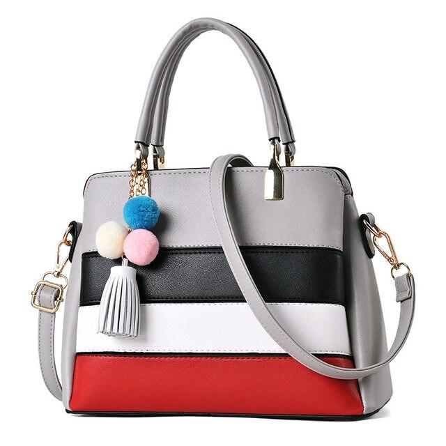 1762ff34c2 Women Pu Leather Handbag Lady Colorful Striped Bag Tassel Casual Tote  Fashion Soft Messenger Bags New Design Sac