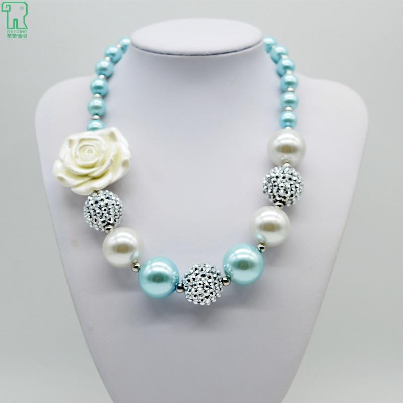 Girls Vintage White Flower Necklace 2015 New Kids Chunky Choker Children Bubble Gum Jewelry Princess Vintage Flower Necklace