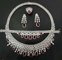 Accking Fashion Luxury Elegant Shape Bridal cube zircon necklace earring bracelet ring 4pcs Big Wedding Jewelry Sets