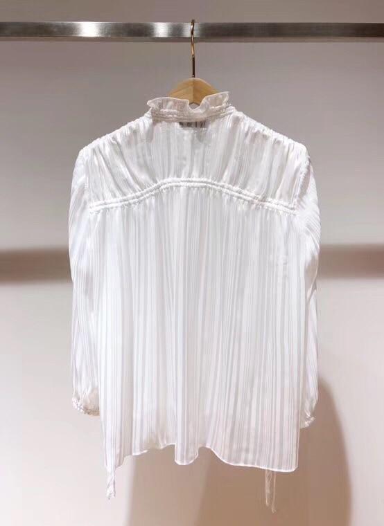2019 printemps nouveau ruban arc col lanterne à manches longues pli plissé pur blanc lâche blouse - 4