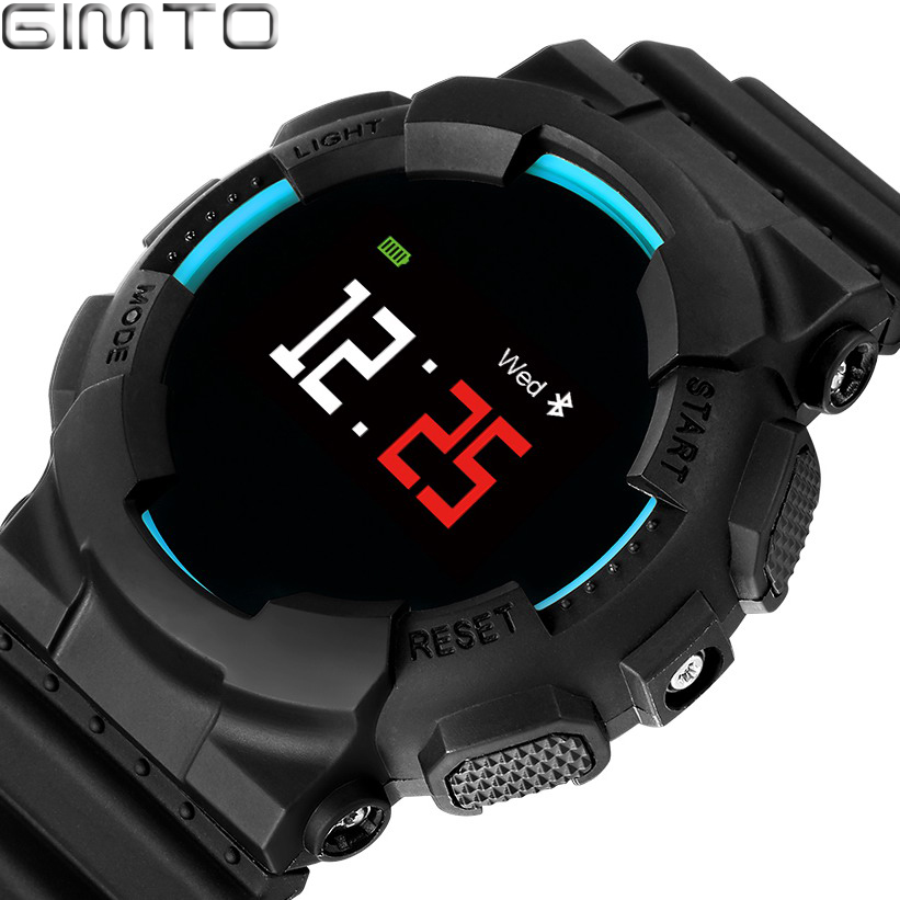 GIMTO Cool Sport Smart Watch Men Waterproof Stopwatch Bluetooth Smartwatch Heart Rate Blood Pressure Pedometer For Android IOS curren smart phone watch men watch heart rate step counter stopwatch ultra thin bluetooth wearable devices sport for ios android