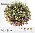 500 unids/bolsa rainbow color mezclado tamaños rhinstones cristal flatback diy hot fix piedras 063005022