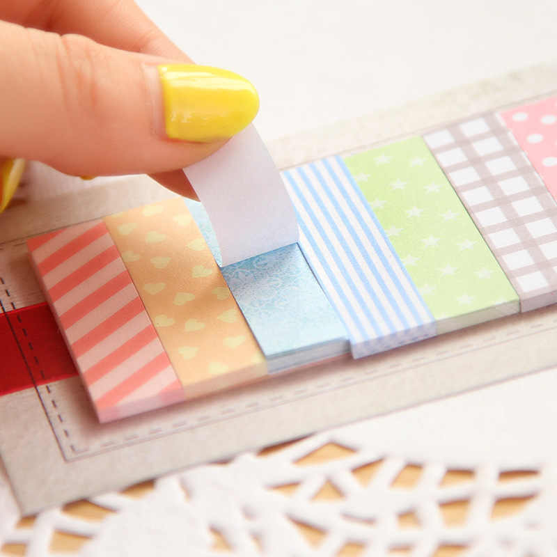 160 Pages mignon Kawaii bloc-notes Plaids et lignes Note papier collant papeterie planificateur autocollants bloc-notes fournitures scolaires de bureau