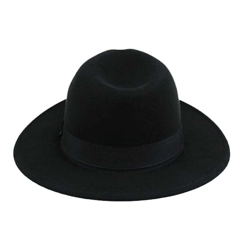 d4f1ede7 ... FS Unisex Black Trilby Hats For Men Godfather Vintage Wide Brim Felt  Fedoras Hats Winter Man ...