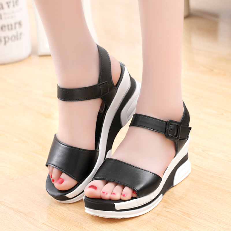 HTB11 kFLwHqK1RjSZFEq6AGMXXae 2019 Summer shoes woman Platform Sandals Women Soft Leather Casual Open Toe Gladiator wedges Trifle Mujer Women Shoes Flats