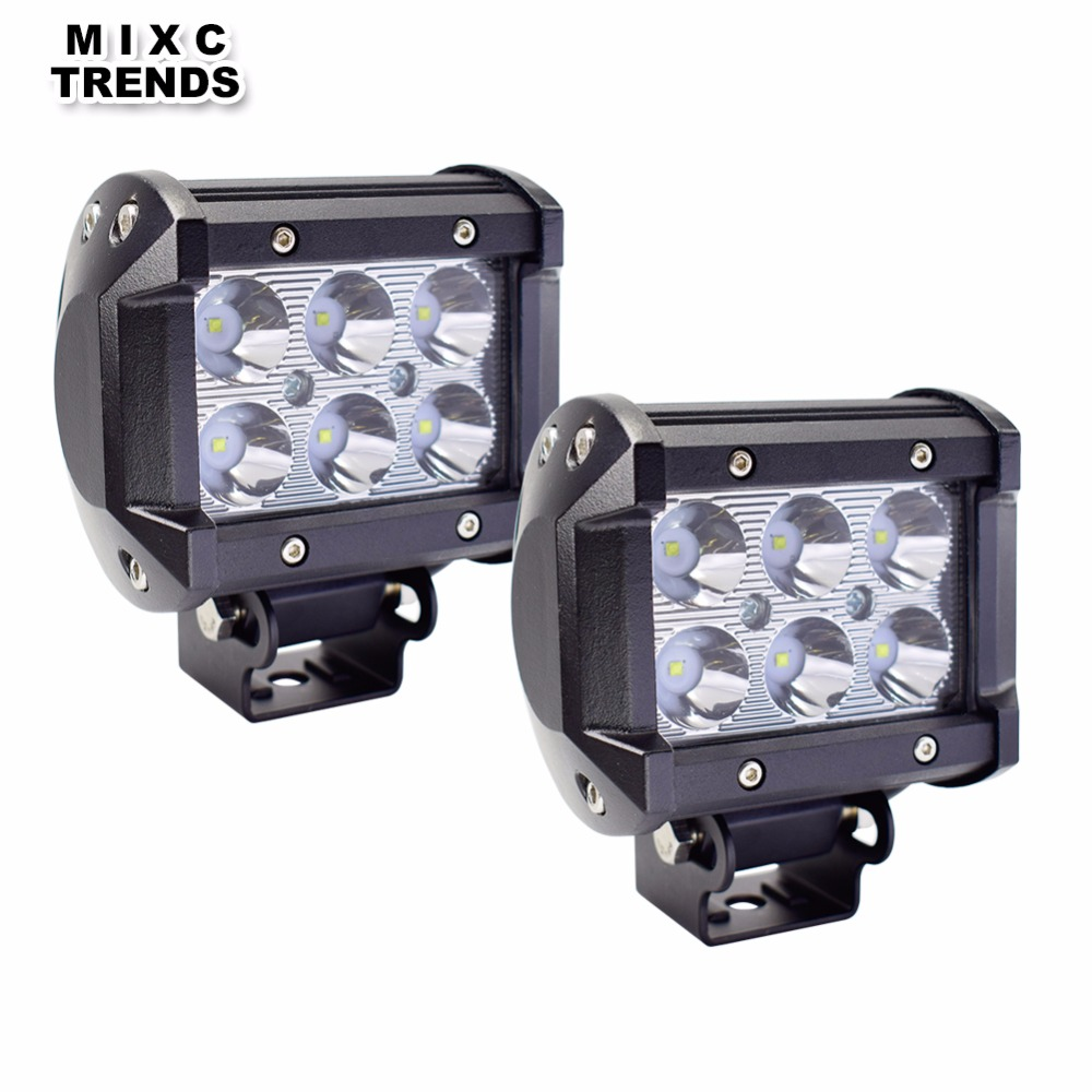 2Pcs 4inch 18W LED Work Light Day light for Motorcycle Tractor Boat Off Road 4WD 4x4 Truck SUV ATV LED DRL Driving Fog Lights