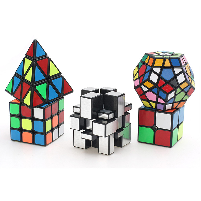 5 pcs/ensemble 2x2 3x3 Miroir cube Mega Pyramide Magic Cube garçons De Noël cadeaux jouets Éducatifs magico cubo pour enfant puzzle cube