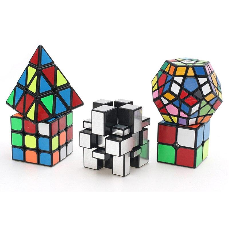 5pcs/set 2x2 3x3 Mirror cube Mega Pyramid Magic Cube boys Christmas gifts Educational toys magico cubo for kid puzzle cube 8pcs set shengshou s magic cubes 3 3 2 2 2x2 3x3 skew sq1 megaminx mastermorphix triangle pyraminx mirror rubix rubic cube