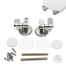 Conjunto de bisagras de asiento de inodoro cromado de repuesto ajustable Universal con accesorios un par efecto cromado bisagras para asiento de inodoro #17