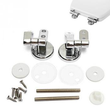 Universal Adjustable Replacement Chrome Toilet Seat Hinge Set Pair With Fittings One Pair Chrome Effect Toilet Seat Hinges #17