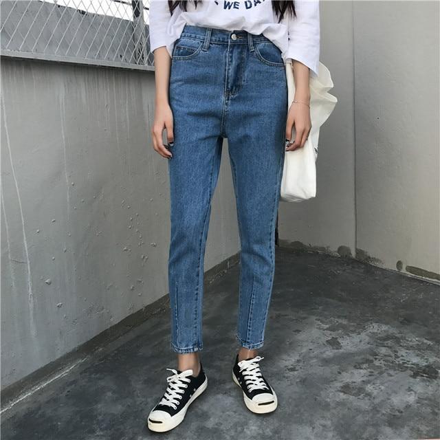 Slanke fitness basic blauw jeans vrouwen denim broek potlood capri hoge taille jean femme pantalon vaqueros mujer pantalones