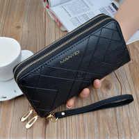 Téléphone sacs à main femmes portefeuilles grande femme sac à main en cuir marque rétro dames longue femme portefeuilles carte embrayage Double fermeture à glissière LSH514