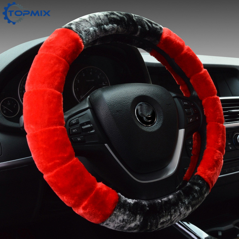 Winter Car Steering Wheel Cover 38CM Universal Soft Warm Plush Covers for Steering Auto Decoration Steering Protector