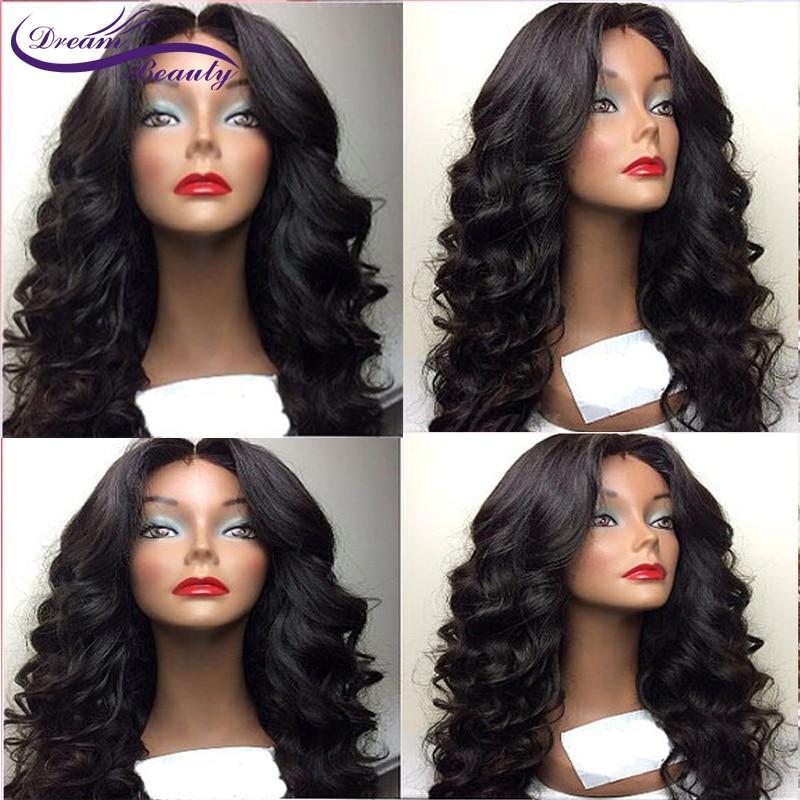 Волнистые парик с челкой Синтетические волосы на кружеве человеческих волос парики бразильский человеческих волос парик предварительно с...