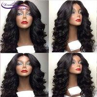Волнистые парик с челкой Синтетические волосы на кружеве человеческих волос парики бразильский человеческих волос парик предварительно с