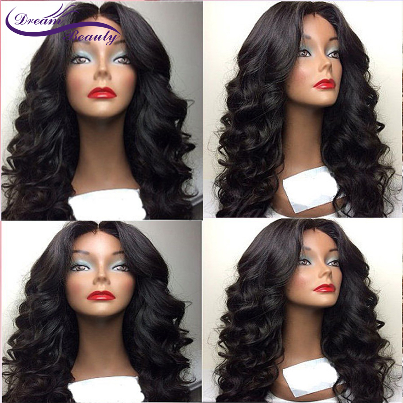 Wavy wig with bangs Lace Front Human Hair Wigs Brazilian Remy Human Hair Wig Pre Plucked With Baby Hair Dream Beauty
