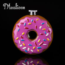 Mealivos Portable Doughnut 10 oz Food safe Stainless Steel Hip Flask Alcohol Liquor Whiskey vodka Bottle gifts drinkware