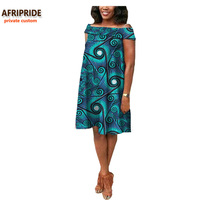 2017 African Summer Women Dress AFRIPRIDE Private Custom Off Shoulder Casual Midi Pleated Dress Plus Size