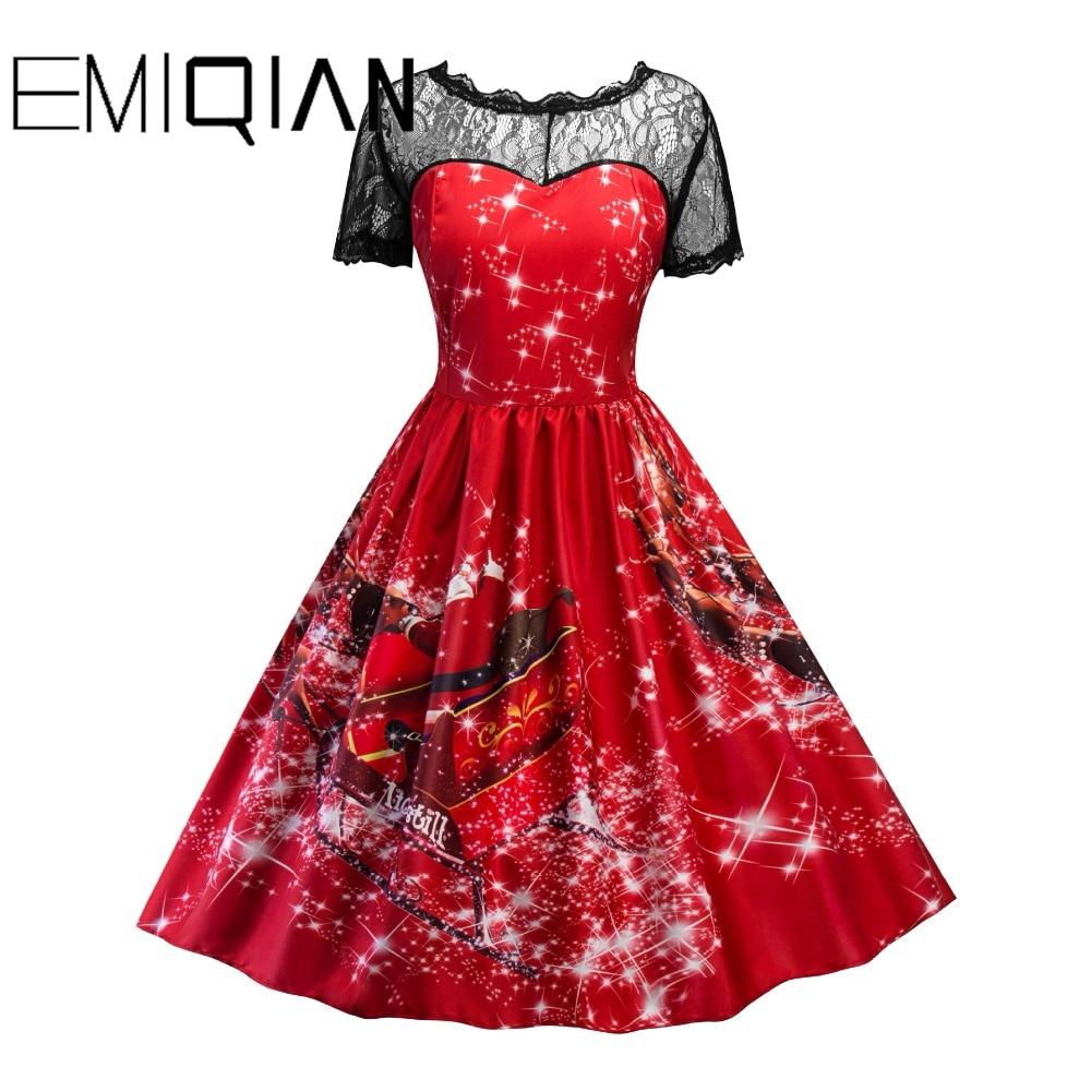 f521b0e1c89 Europe and America Christmas Short Sleeve O Neck Knee Length Black Lace  Party Dress Short Prom