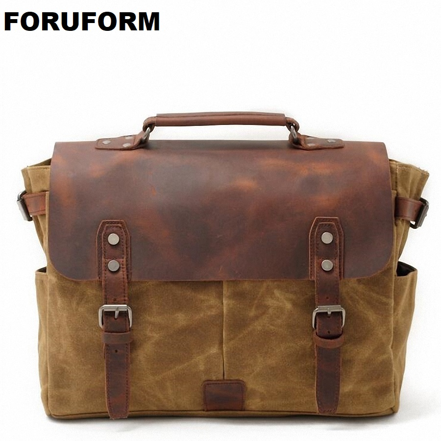 Vintage Men's Messenger Bags Waterproof Canvas Shoulder Bag Fashion Men Business Crossbody Bag School Travel Handbag LI-1865 augur 2017 canvas leather crossbody bag men military army vintage messenger bags shoulder bag casual travel school bags