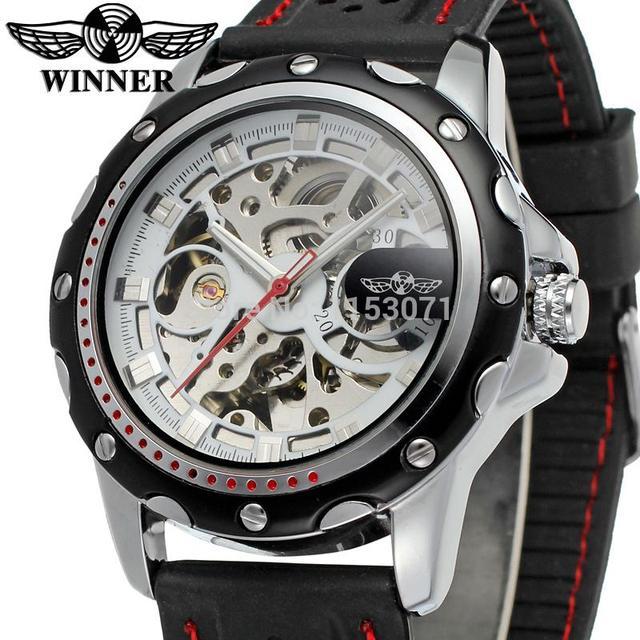 ee628b04583 WRG8027M3T5 Vencedor marca homens Automáticos esqueleto vestido de relógio  com banda de silicone preta original frete