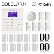 QOLELARM Spanish/French/Danish WIFI GSM Home Security Alarm System Door Sensor Heat Smoke Detector Anti-pet PIR Motion Sensor