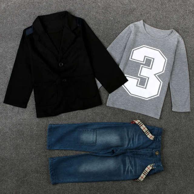 314730ceb Christmas Birthday Outfit For Boy Denim Set Clothes Kid Black Coat Jacket  Top+T Shirt+Jeans Trouser 3pcs Suit Boutique Kit 3-8T