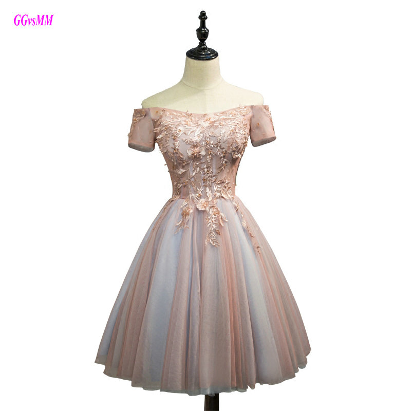 Gorgeous Multi-Colored   Prom     Dresses   2018 Fast Shipping Boat-Neck Tulle Appliques   Prom   Party   Dress   Short Sexy Graduation   Dresses