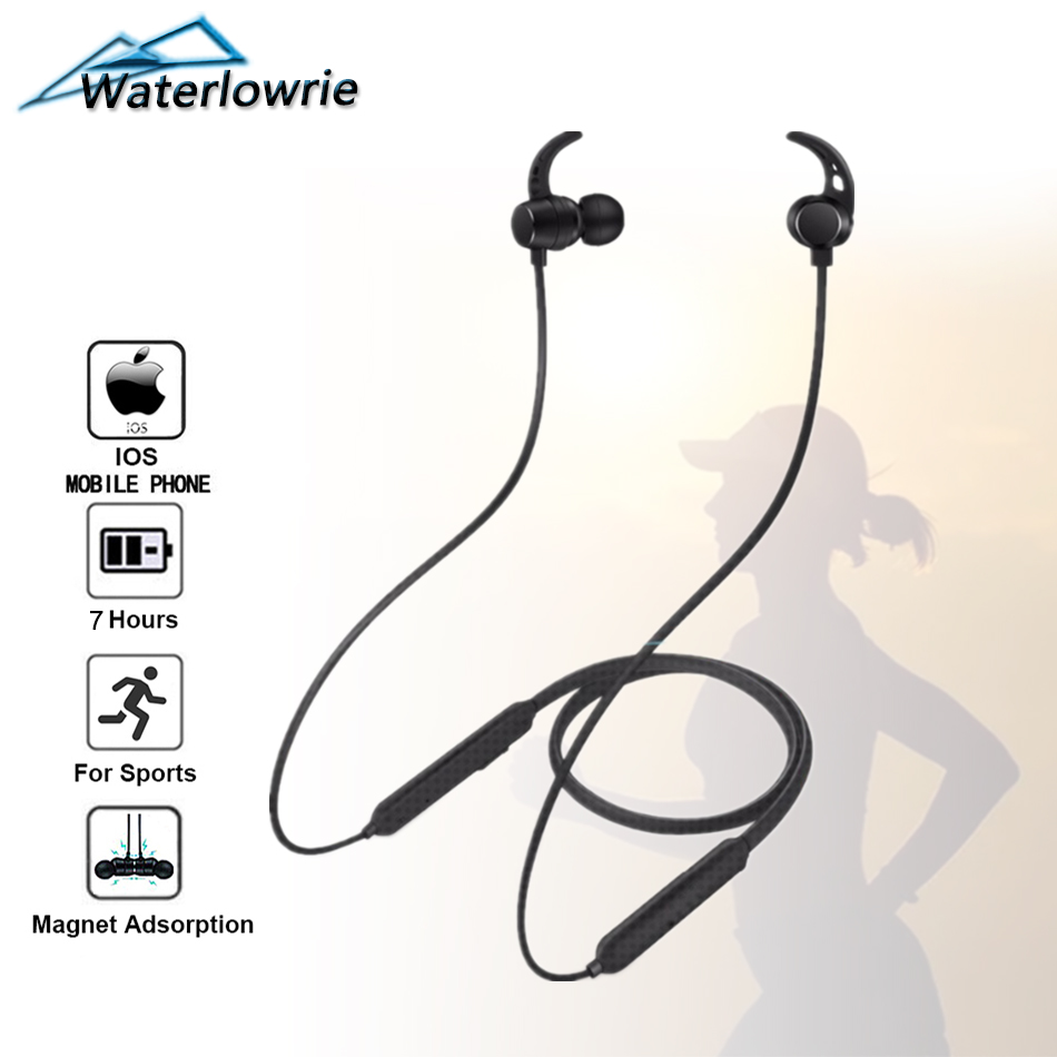 Waterlowrie Bluetooth Earphone Wireless Neckband Headphones Sport Running Gym Fitness In Ear Magnetic Earbuds Headset With Mic