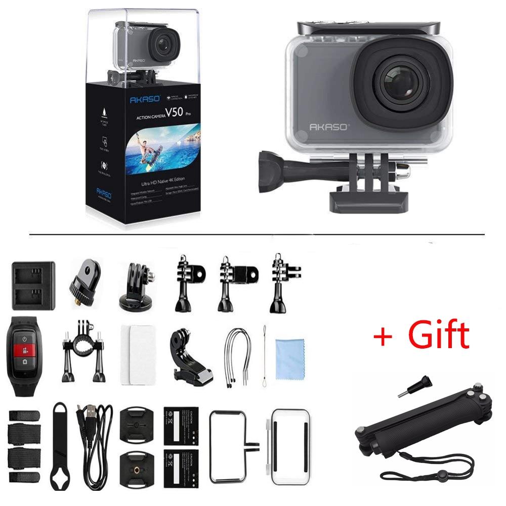 AKASO V50 PRO 4 К 30FPS Сенсорный экран WI-FI открытый Extrems Спорт действий Камера с Els Ultra HD Водонепроницаемый видеокамера + штатив