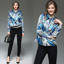 High Quality Women Floral Print Polo Blouse Cardigan Tops Blouse Female 2017 Summer OL Women's CHIFFON Silk Blouse Shirts JA2514