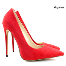 Aiyoway Elegant Women Ladies Pointed Toe High Heel Pumps Faux Suede Party Office Dress Shoes Red Slip On US Size 5-15