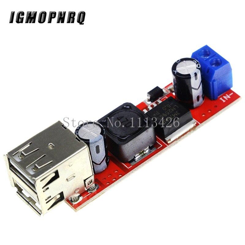DC 6в-40в до 5В 3а Двойной USB зарядный DC-DC понижающий преобразователь модуль для автомобильного зарядного устройства LM2596 два USB