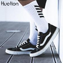 Huation Harajuku Hip Hop Socks Men Brand Skateboard Breathable Mens Business Sock Fashion Striped Crew Socks