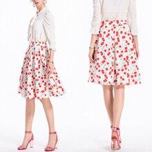 55630dec5a 2018 verano mujeres falda Vintage Flor de melocotón florales impresión de  alta cintura vestido de bola