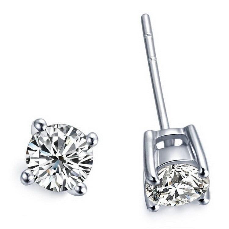 Stud-Earrings Diamond Wedding-Jewelry White Solid-18k Gold-2 Round Cut Carat Factory