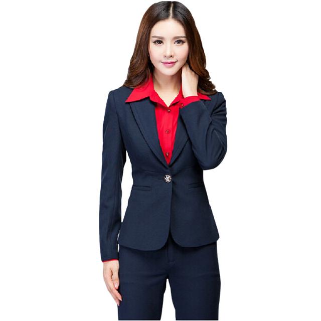 Otoño Nueva moda profesional de manga larga pantalones set de invierno ropa de trabajo de oficina de Negocios de estilo occidental de las mujeres delgadas pantalones trajes