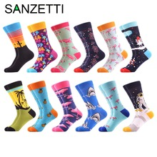 SANZETTI 12 pairs/lot Novelty Men's Funny Shark Pattern Colorful Combed Cotton Socks Dress Casual Crew Wedding Socks For Gifts