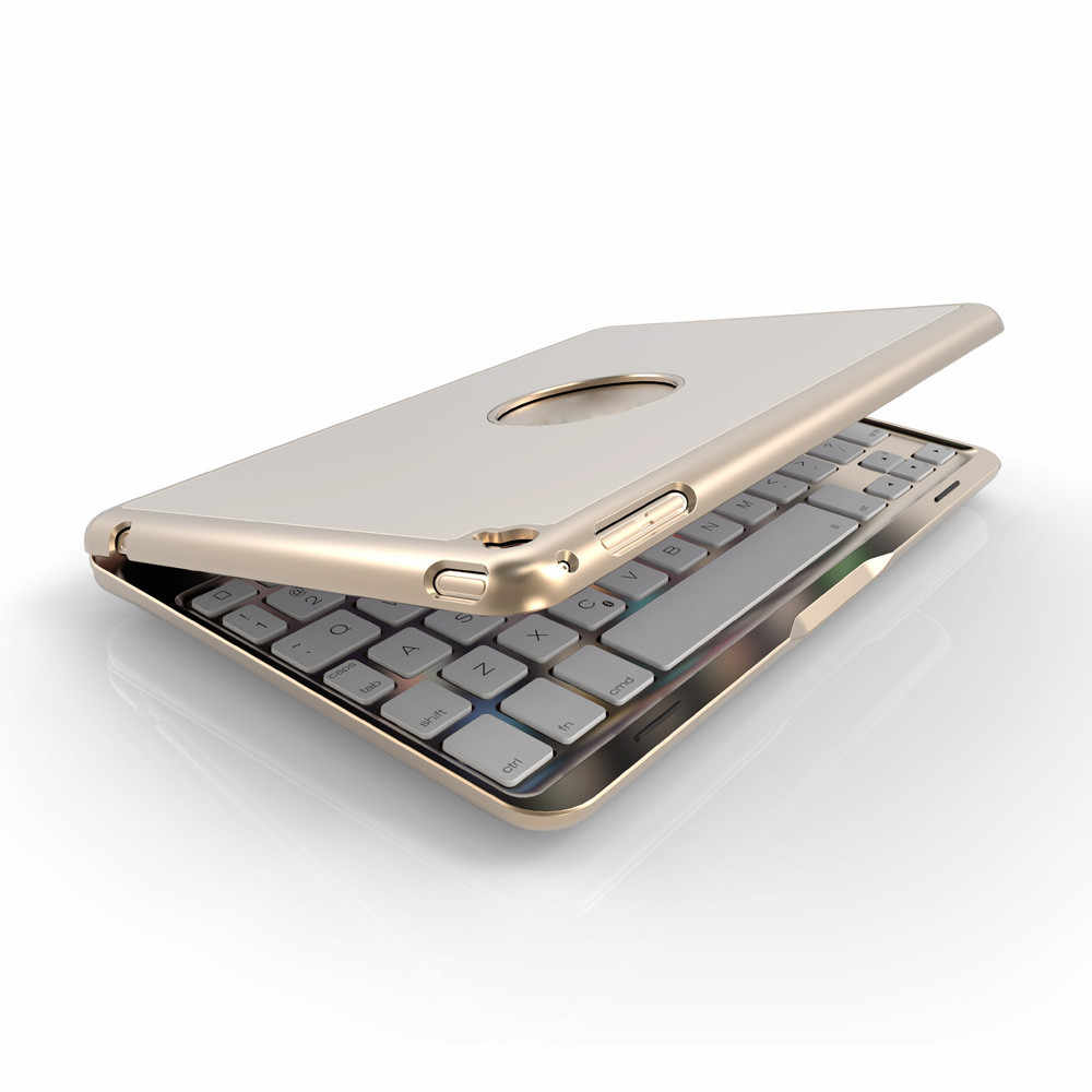 Aluminium 7 Warna Backlit Bluetooth Keyboard Smart Folio Case untuk iPad Mini 4 20A Drop Pengiriman