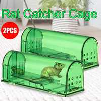 2X Plastic Mouse Trap Reusable Rat Catcher Cage Rodent Pest Humane Large Live Rodent Mousetrap Repeller for Home Shop Hotel
