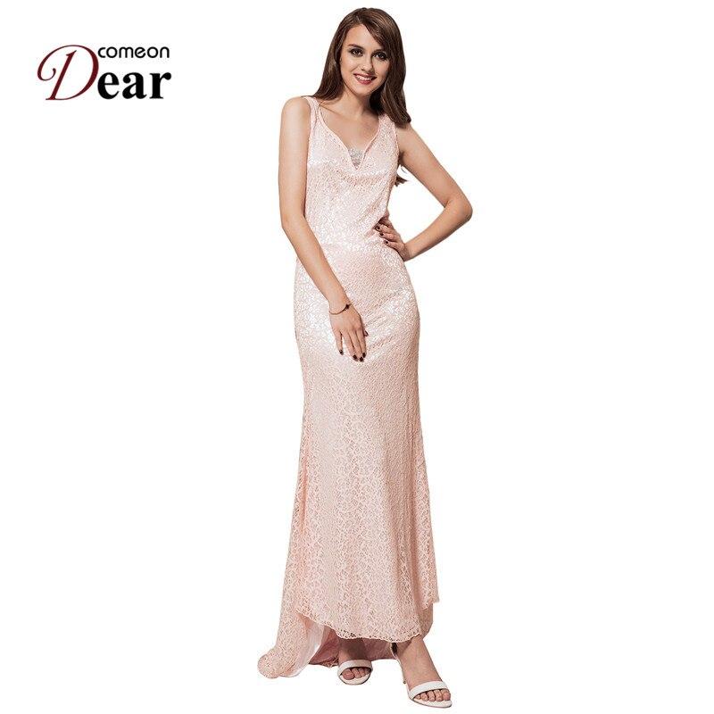 Comeondear Лидер продаж, фиолетовый розовый вечернее платье плюс Размер Женская одежда кружевное вечернее, до пола RB80028 Секс Макси платье 2017