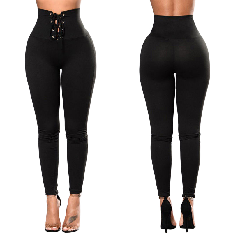 New Fashion Women Girls Pants High Waist Bandage Solid  Fitness Leggings Stretch Trousers