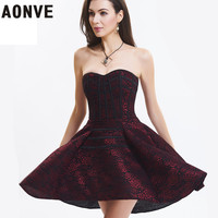 AONVE New Women Corsets Sexy Dress Lace Up Overbust Waist Trainer Bustiers Off Shoulder Backless Shaper Dresses For Party Club