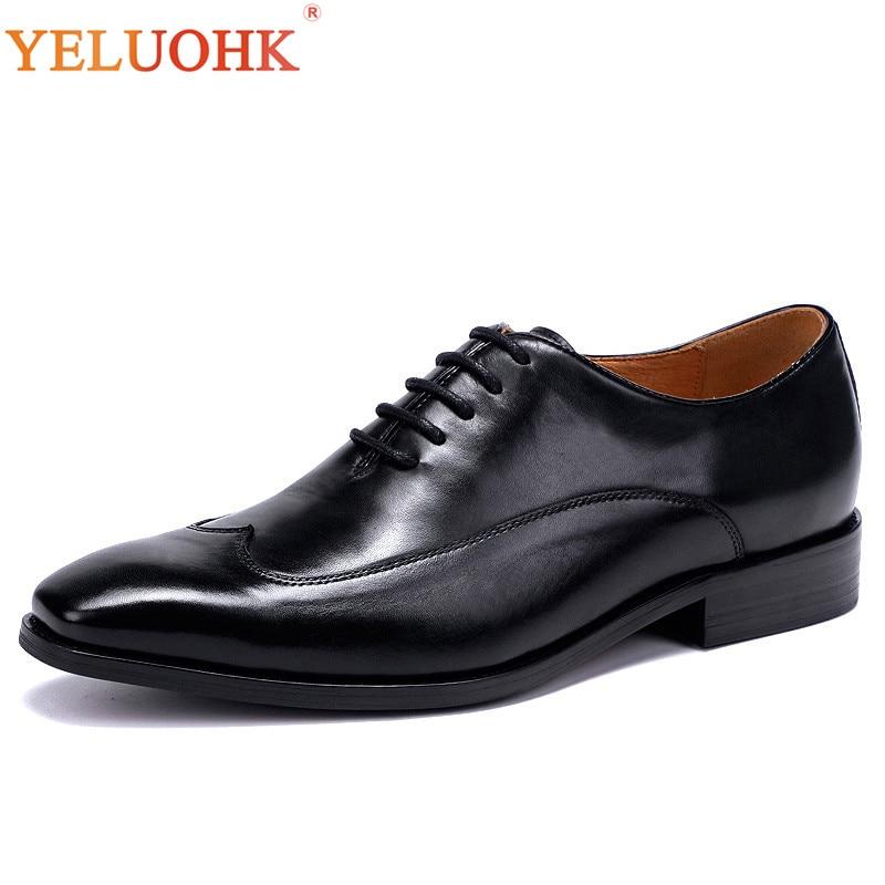 Calidad Marrón Hombres Negro 38 De Zapatos Tamaño Oficina Más Los Superior brown 46 Cuero Genuino Formal Oxfords Vestido Black 1qBxqZfPw